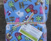 Pink tractor XL receiving blanket. Choice of thread colour. Ready to ship.