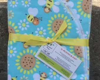 Choice of 2. Owls or Bees. Baby XL receiving blanket.
