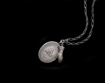 Vintage All Seeing Eye of God SS Pendant Medal Necklace w Silver Antique Hand Amulet On 26 Inch Textured SS Chain