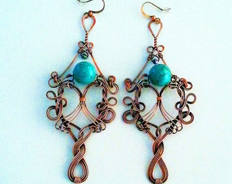 Wire Wrapped Copper & Turquoise Magnesite Earrings