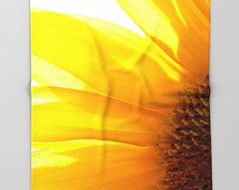 Fleece Throw Blanket, Sunflower 2, Throw Blanket, Photo Throw Blanket, Home Decor, Bedding, Sherpa Throw, Photography