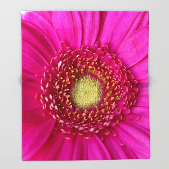 Fleece Throw Blanket, Hot Pink Gerbera Daisy, Photo Throw Blanket, Home Decor, Bedding, Sherpa Throw, Photography,