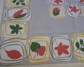 Vintage Mid Century, MCM, tablecloth, cotton, fall leaves, autumn,