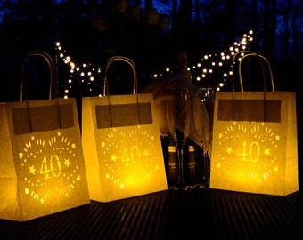 40th Birthday Lantern Bags, perfect 40th party decoration