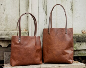 USA made Rustic Leather Tote With Dark Straps | Light, Dark, Merlot | Slim | Sleek
