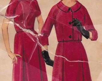 "RARE 60s Size 20 Dress & Bolero Jacket w/ Raglan Sleeves Vintage Sewing Pattern - Butterick 3188 - Bust 40"", Complete"