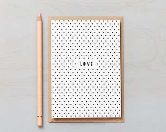 Polka Dot Love Card. Valentines card, anniversary card or wedding day card