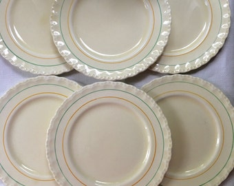 Set of 6 Grindley Cream Petal Bread and Butter or Dessert Plates Tea Plates Made in England