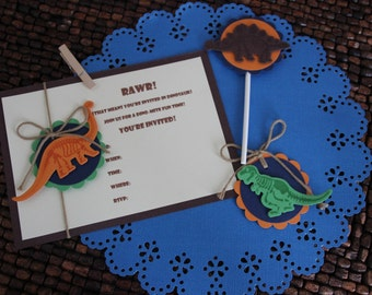 Dinosaur Fossil Birthday Party Invitations - set of 8 with envelopes - Ready to ship