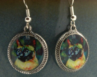 Siamese Cat Earrings 3D Jewelry Bright Dimensional Silver Round Picture