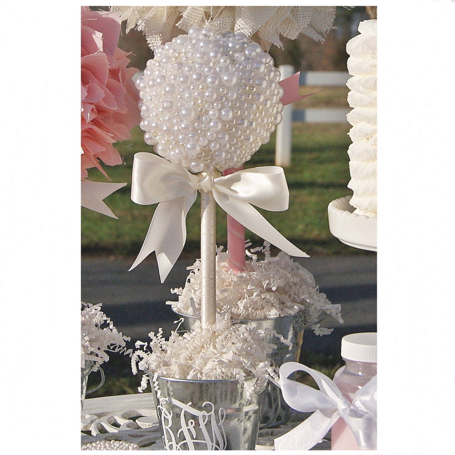 Pearl topiary centerpiece baptism center piece quinceanera
