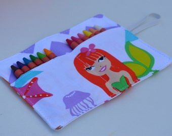 Mermaid crayon roll up to 12 crayons, 6''x4.5''.Under the sea fabric.Purple, coral, blue, green. Gift for girls. Add crayons option.