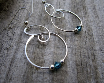 Medium Free Form Sterling Silver Earrings with Teal Swarovski Crystals