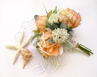 Beach Wedding Bouquet, Starfish Bridal Bouquet, Destination Wedding Flowers, Bridesmaid Peach Ivory Rose Hydrangea Soft Romance