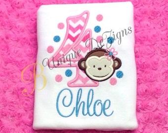 Girls Monkey Shirt, Mod Monkey Birthday Shirt, Girls Birthday Shirt or Bodysuit