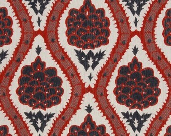 Modern Red Navy Blue Upholstery Fabric - Woven Heavyweight Red Floral Fabric for Furniture - Blue Red Floral Pillow Covers