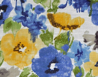 Royal Blue Watercolor Floral Upholstery Fabric - Green Yellow Floral Fabric for Curtains - Blue Chair Seat Cushion Fabric - Floral Headboard