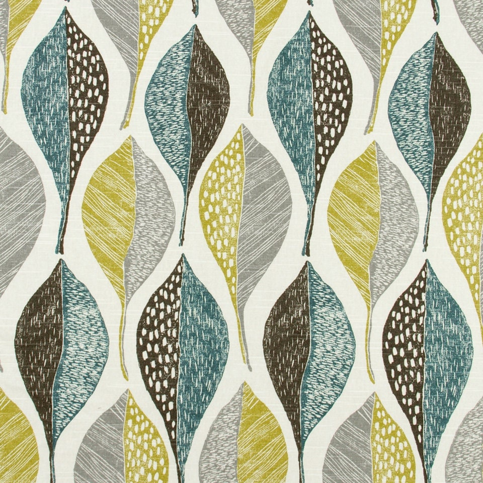 On Sale Modern Upholstery Fabric With Leaves Aqua Grey