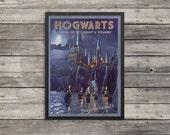 Hogwarts Travel Poster | Harry Potter poster |  Vintage look print | Vintage travel | Fantasy travel poster