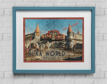 Fallout Poster | Nuka World travel poster | Vintage travel poster | Videogame art