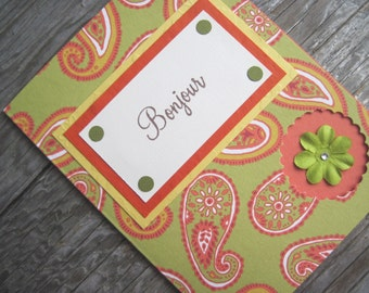 "Peekaboo Paisley ""Bonjour"" French Country Note Card, Fall Colors Blank Note Card with Floral Embellishment w/Crystal Center, 4 1/4 x 5 1/2"