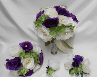 Wedding Silk Flower Bridal Bouquet 18 pieces Package Ivory Purple Sage Bride Bridesmaid Boutonnieres Corsages FREE SHIPPING