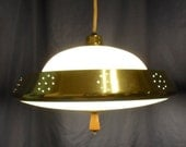 "ON SALE Vintage 18"" Pull Down Ceiling Light Fixture Mid Century Modern UFO Glass, Brass and Wood Triboro Hanging Lamp"