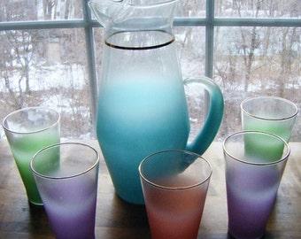 25% Off Storewide Sale Vintage Mid Century Blenko Glass Company Lemonade Beverage Set Pitcher and Five Glasses All Pastels
