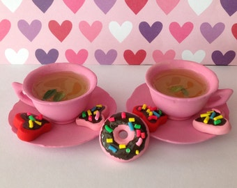polymer clay cookies,American girl food, resin teacups, teacups, handmade resin tea, pretend food, American girl accessories,doll house