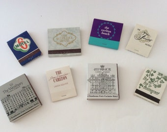 Lot of 8 1970's- 1980's Vintage International Hotel / Restaurant Matchbooks- Matchbox Storage Packaging- Instant Collection
