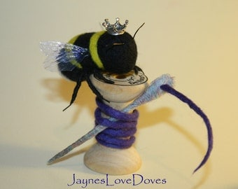 Sewing Bee needle felted bee by JaynesLoveDoves