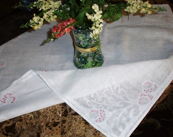 "French Country Linen and Embroidered tablecover; tablecloth, vintage linen tablecover, French linen, 31x33"", table topper, 1950s"
