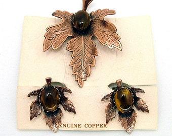 Vintage Copper Leaf Brooch & Earrings Set Marbled Cabochons on Original Card