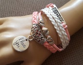 New Charm 2015 Pink and White Leather Cord  Sister Bracelet