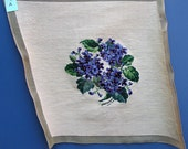 Vintage Violets Needlepoint (A) Completed Canvas, Paragon Tapestries #446, Home Decor Needlecraft