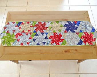Christmas table runner, quilt table runner made with christmas fabric
