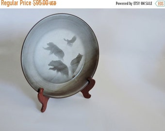 SHOP CLOSING SALE Rustic Studio Pottery Tray with Bears and Eagle. Discontinued Size.