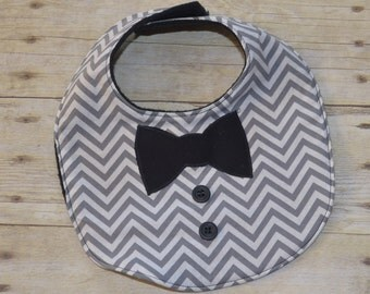 Gray Chevron Black Bow Tie Baby Bib