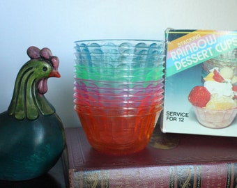 NOS Colorful jewel tone pretty plastic ice cream dessert bowls set of 12, vintage dessert dishes, IOB, glamping serving