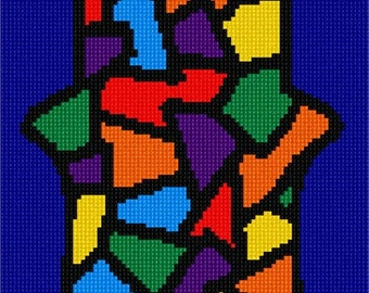 Needlepoint Kit or Canvas: Hamsa Stained Glass