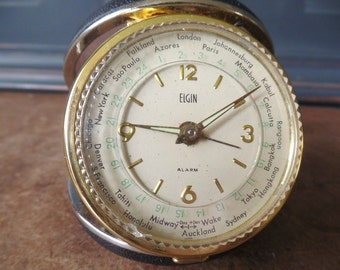 Vintage Elgin World Time Travel Alarm Clock, Black Case, Working Condition, Collectible, White Face