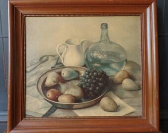 Vintage Primitive Framed Print, Fruit, Wine, Kitchen, Farmhouse, Wood Frame, Wall Home Decor
