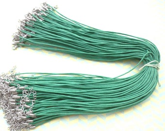 15pcs 17-19 inch 1.5mm adjustable green waxed cotton necklace cord with lobster clasp