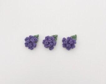 crochet flowers, red crochet flowers, rose flower appliques, mini crochet flowers