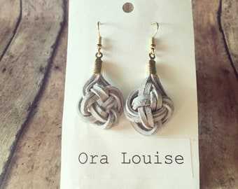 Ash Grey knot Leather and Gold Hardware Earrings