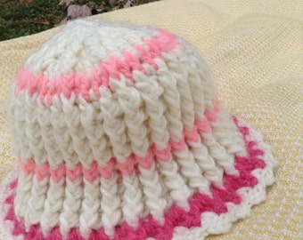Pink & Rose Winter Hat/ One Size Fits All