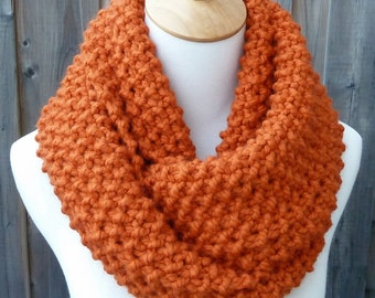 ON SALE - Pumpkin Wool Infinity Scarf - Burnt Orange Wool Infinity Scarf - Lambswool Scarf - Bulky Knit Scarf - Circle Scarf - Ready to Ship