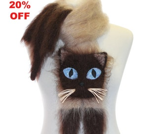 Sale 20 % Off / Knitted Scarf / Siamese cat / Fuzzy Soft Scarf / biege brown / cat scarf / knited cat scarf / animal scarf / Kids Scarf