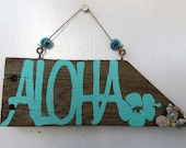 Aloha Driftwood Art with Hibiscus & Shells (Made to Order)