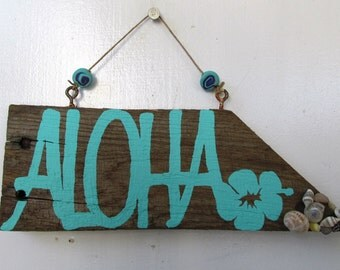 Aloha Driftwood Art with Hibiscus & Shells (Made to Order) Painting, driftwood sign, rustic decor, welcome sign